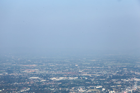 Air pollution in the northern of Thailand, grey smoke cover the town