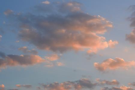 evening sky  with orange tone cloud Banco de Imagens