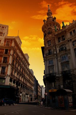 omnibus: Gran Via street in the center of Madrid, Spain.