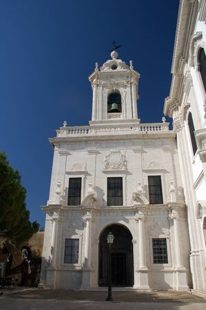 se: Low angle view of Se Cathedral in Lisbon, Portugal. Stock Photo