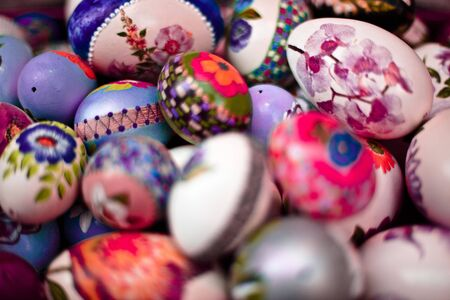 close up colored easter eggs photo