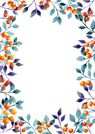 Halloween leave and orange berries watercolor hand painting frame background for decoration on autumn festival or Halloween festival.