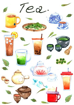 Matcha,green tea, tea bag, hot tea, lemom tea, milk tea with boba and Thai milk tea watercolor illustration set.