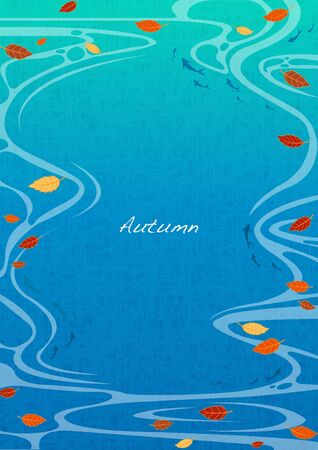 Falling autumn leaves on water background vector for decoration on autumn festival. Ilustração