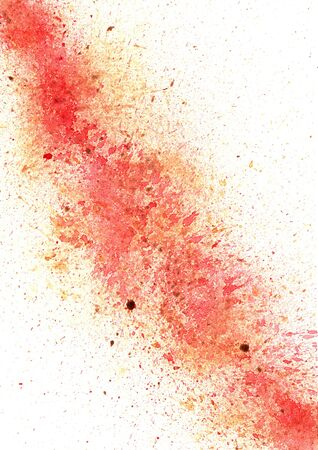 Abstract red and brown color watercolor splash on paper background.