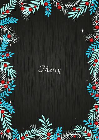 Blue winter plants with red berries on blackboard frame vector for decoration on Christmas holiday events.