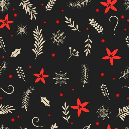 Red and ivory color winter plants and snowflake on black background vector for decoration on Christmas holiday season.