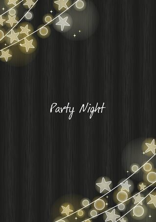 Star party light on black wooden background vector for decoration on Christmas holiday. Ilustrace
