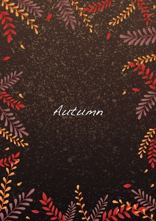Autumn fern leaves border background vector for decoration on autumn festival.