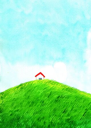 House at green grass meadow with cloud sky watercolor hand painting background.