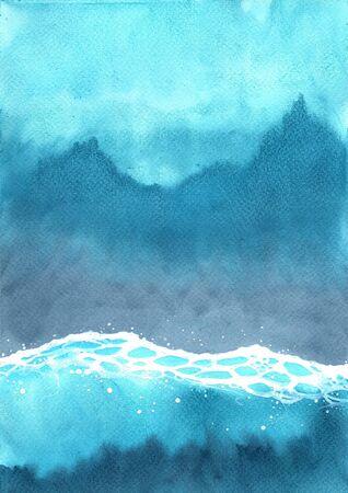 Acuarela de olas del océano en la vista superior de fondo de pintura a mano para la decoración en la temporada de vacaciones de verano.