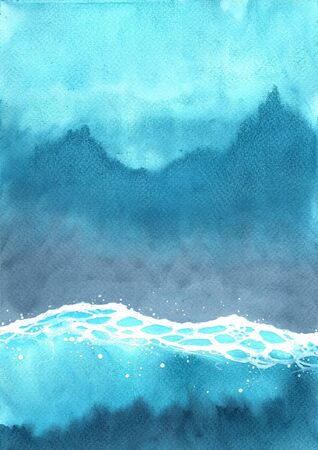 Ocean wave watercolor on top view hand painting background for decoration on summer holiday season.