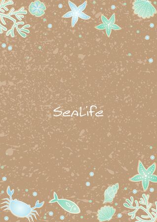 Coral, starfish, fish, crab, seashell and sand dollar on brown sand frame vector background for decoration on summer season festival.