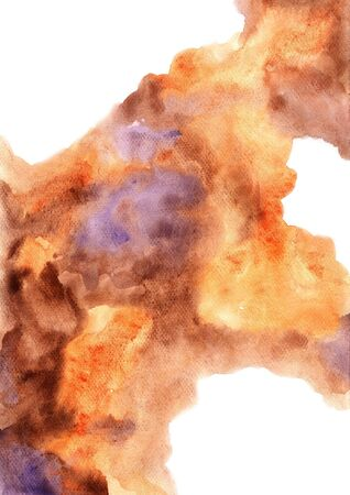 Abstract brown, orange and purple watercolor hand painting background for decoration on autumn season and coffee cafe artwork advertising.