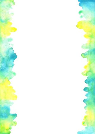 Abstract yellow, blue and green watercolor background for decoration on summer events.