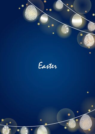 Easter egg party light frame on night sky background for decoration on Easter night party.