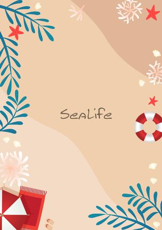 Umbrella beach, swim tube, coral, seashell and coconut palm leaves on sand beach border vector background for decoration on summer holiday festival.