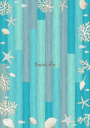 Fish, seashell, starfish and coral frame on blue ocean wood wallpaper vector for decoration on summer holiday season.
