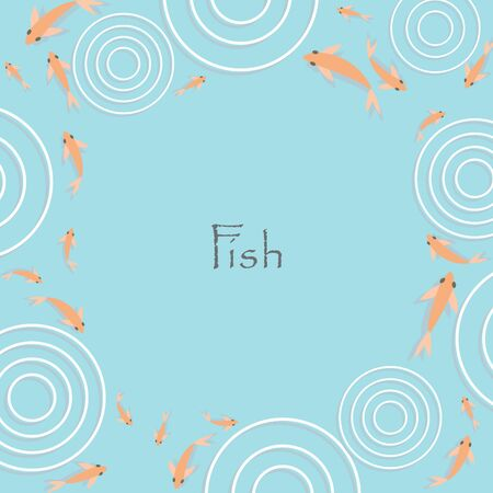 Gold fish with circle of water frame vector background for decoration on Chinese festival. 版權商用圖片 - 147776859