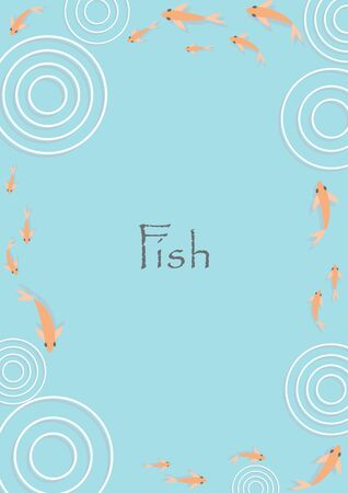 Gold fish with circle of water frame vector background for decoration on Chinese festival.