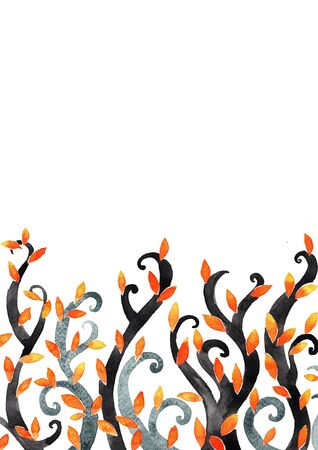 Fantasy ivy trees watercolor hand painting frame for decoration on autumn season or Halloween festival.