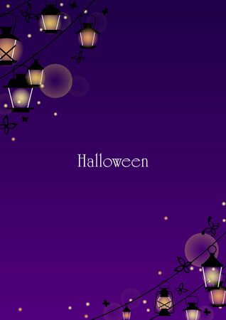 Lantern and black butterfly at night for decoration on Halloween festival and night party events.