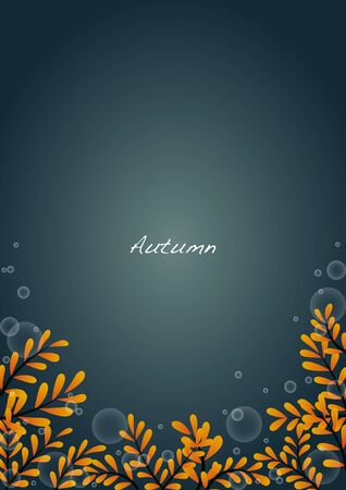 Yellow leaves frame vector with splash water background for decoraton on autumn seasonal.