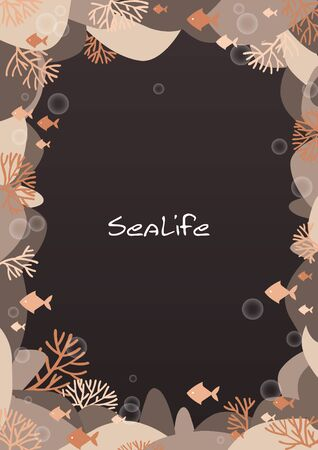 Orange corals and fish in the sea at night frame vector for decoration on summer and autumn seasonal.