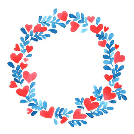 Red heart flower and fern leaf wreath watercolor hand painting for decoration on Valentine's day and wedding events.