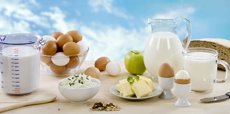 measuring spoons: Dairy products Stock Photo