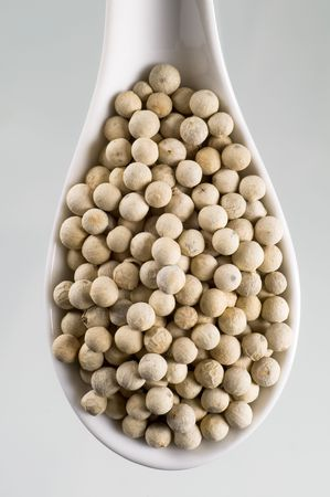 spoonful: Spoonful of white peppercorns - overhead