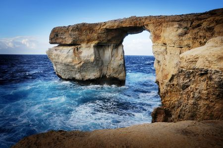 rock arch: Natural rock arch called The Azure Window, Island of Gozo