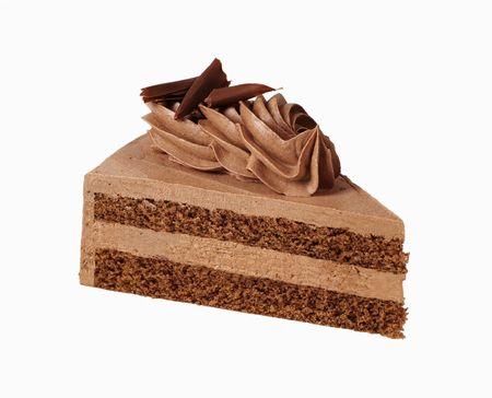 Slice of chocolate cream cake Stock Photo