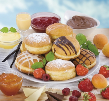 Donuts with various kinds of filling