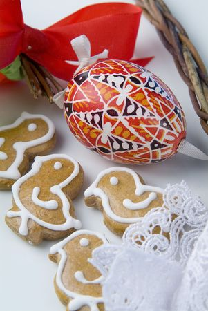 Painted Easter egg and ginger cookies  photo