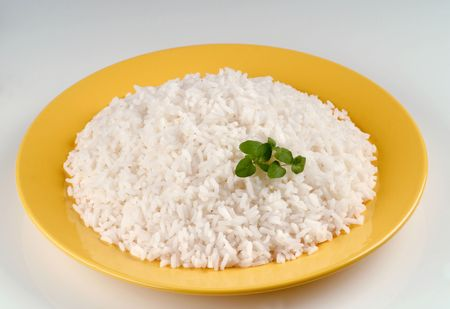 Plateful of Boiled White Rice