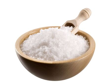 Sea salt in a  wooden bowl  photo