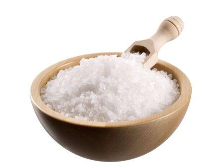 salt crystal: Sea salt in a  wooden bowl  Stock Photo