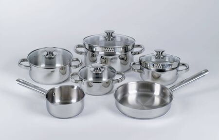 stockpot: Set of stainless pots and pans