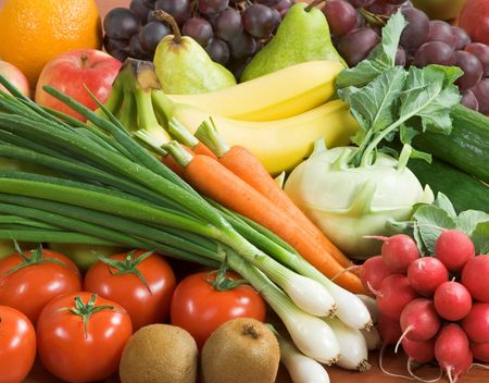 Assortment of fresh vegetables and fruit  photo