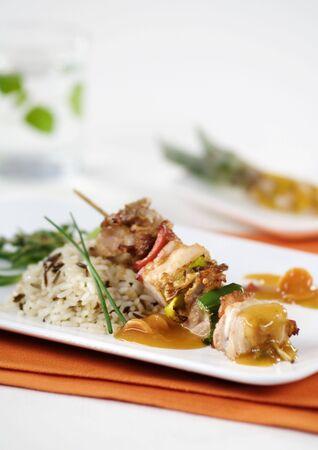 Shish kebab with rice  photo