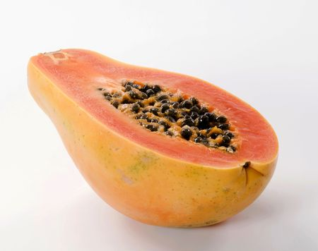 Halved papaya fruit photo