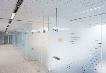 glass door: Interior of a modern company offices