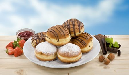 fillings: Donuts with strawberry jam and chocolate fillings