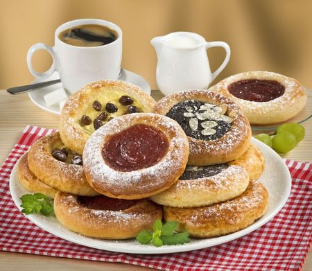 Moravian Poppyseed, Curd and Jam Cakes and a Cup of Coffee