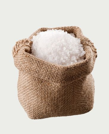 Sea salt in a  burlap sack