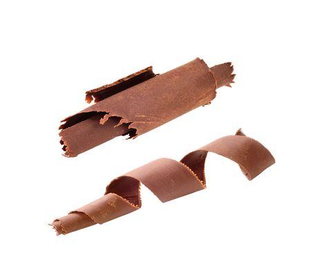 Chocolate shavings isolated on white Stock Photo - 5097899