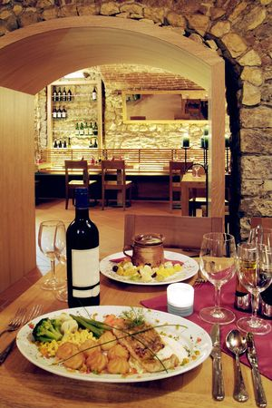 Interior of a wine cellar restaurant photo