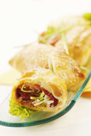filo pastry: Filo pastry filled with sun dried tomatoes