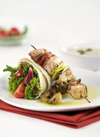 shish kebab: Shish kebab and tortilla  Stock Photo
